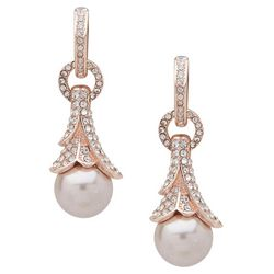 You're Invited Rose Gold Tone Tone Faux Pearl Drop Earrings