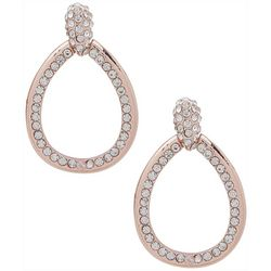 You're Invited Rose Tone Pave Rhinestone Teardrop Earrings
