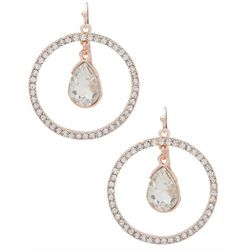 You're Invited Rose Tone Pave Rhinestone Orbital Earrings