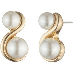 You're Invited Double Faux Pearl Swirl Stud Earrings