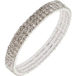 You're Invited 3 Row Rhinestone Stretch Bracelet