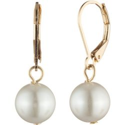 You're Invited Gold Tone Faux Pearl Drop Earrings