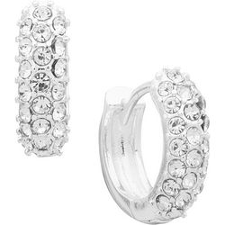 You're Invited 14 MM Pave Crystal Huggie Hoop Earrings