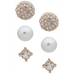 You're Invited Gold Tone Faux Pearl Earring Set