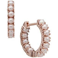 You're Invited Rose Gold Tone Faux Pearl Hugge Hoop Earrings