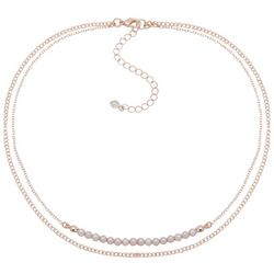 You're Invited Rose Tone Pave Rhinestone Layered Necklace