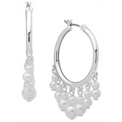 You're Invited Silvertone Tone Pearl Drop Hoop Earrings