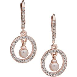 You're Invited Pink Pearl Crystal Ring Drop Earrin