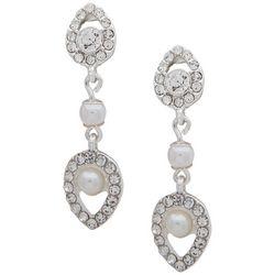 You're Invited Rhinestone & Faux Pearl Linear Earrings