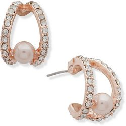 You're Invited Rose Gold Tone Faux Pearl Hoop Earrings