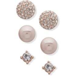 You're Invited Rose Gold Tone Faux Pearl Earring Set