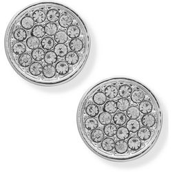 You're Invited Silver Tone Rhinestone Pave Disc Earrings