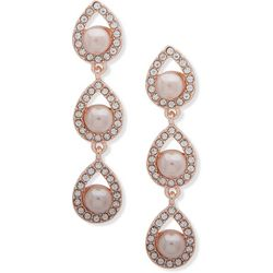 You're Invited Rose Gold Tone Linear Teardrop Earrings