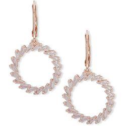 You're Invited Rose Gold Tone Rhinestone Circle Earrings