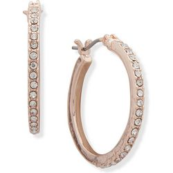 You're Invited Rose Gold Tone Rhinestone Hoop Earrings
