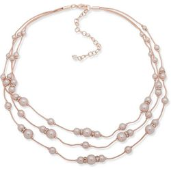 Rose Gold Tone Triple Row Faux Pearl Necklace