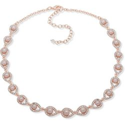 Rose Gold Tone Faux Pearl Collar Necklace