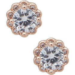You're Invited Halo CZ Rose Gold Stud Earrings