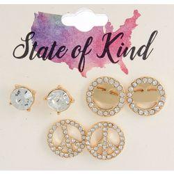 State Of Kind 3 Pc. Goldtone Peace Stud Earring Set