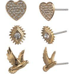 State Of Kind 3 Pc. Goldtone Rhinestone Stud Earring Set