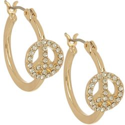 State Of Kind Rhinestone Peace Sign Hoop Earrings