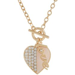 State Of Kind Gold Tone Love Rhinestone Heart Necklace