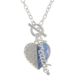 State Of Kind Silver Tone Breathe Rhinestone Heart