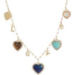 State Of Kind Gold Tone Heart Charm Necklace