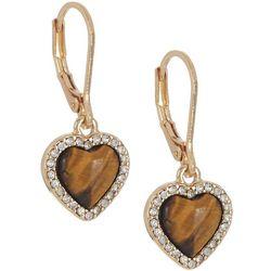 State Of Kind Gold Tone Heart Earrings