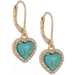 State Of Kind Gold Tone  Faux Turquoise Heart Earrings