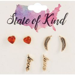 State Of Kind 3 Pc. Goldtone Stud Earring Set