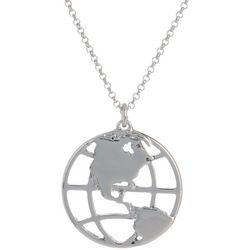 State Of Kind Silver Tone Globe Necklace