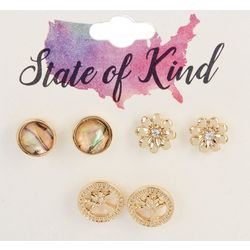 State Of Kind 3 Pc. Goldtone Tree Stud Earring Set