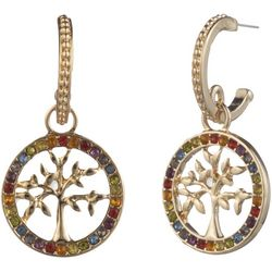 State Of Kind Rainbow Tree Hoop Drop Earrings