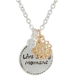 State Of Kind Silver Tone Live Every Moment Necklace