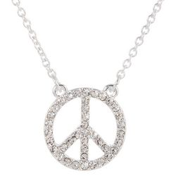 State Of Kind Silver Tone Peace Sign Necklace