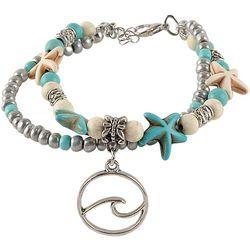 Viva Life Howlite Beads Starfish & Wave Charm Bracelet