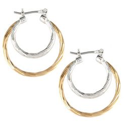 Bay Studio Two Tone Triple Hoop Earrings