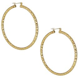 Bay Studio Gold Tone Textured 2 in. Hoop Earrings