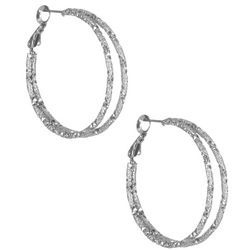 Bay Studio Silver Tone Double Hoop Earrings