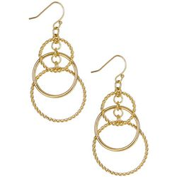 Bay Studio Gold Tone Twist Triple Hoop Earrings