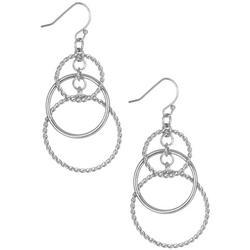 Silver Tone Triple Hoop Earrings