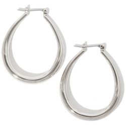 Silver Tone Oval Hoop Earrings