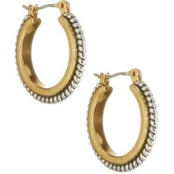Bay Studio Two Tone Textured Hoop Earrings