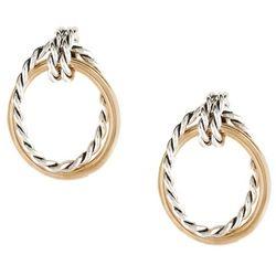 Two Tone Rope Oval Drop Earrings