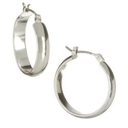 Bay Studio Silver Tone Polished Hoop Earrings