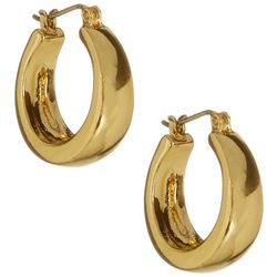 Bay Studio Gold Tone Oval Shape Hoop Earrings