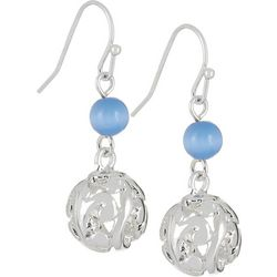 Bay Studio Blue Cateye Bead Filigree Ball Earrings