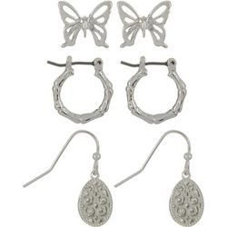Bay Studio 3-pc. Butterfly & Hoop Earring Set