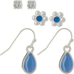 Bay Studio Blue Flower & Teardrop Earring Set